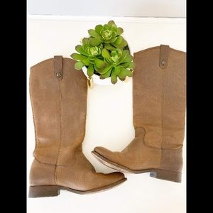 Frye Melissa Pull On Tall Brown Leather Boots 6.5